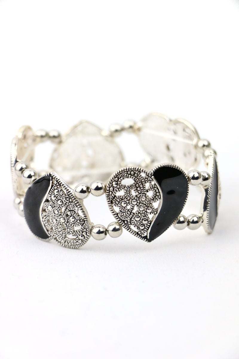 Double Heart Black And Silver Scrollwork Heart Stretch Bracelet