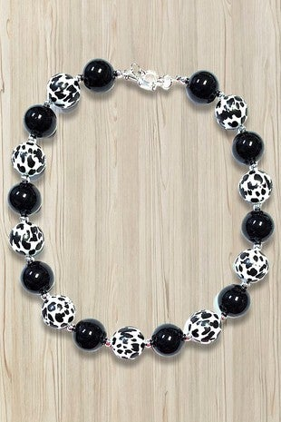 Mooooore to Love Cow Print and Black Beaded Little Girls Necklace