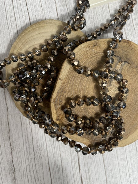 Crystal Bronze Point of Perfection Beaded Necklace