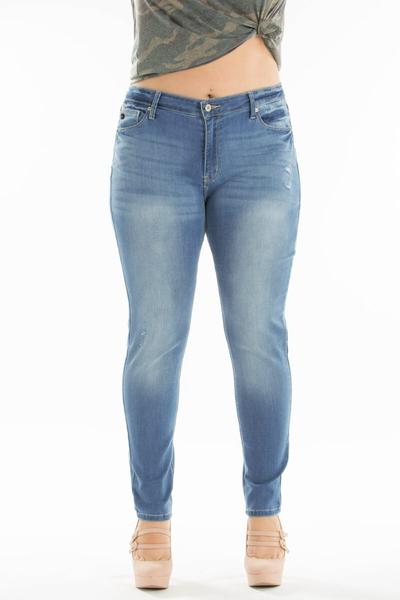 The Bev Medium Wash Lightly Distressed Super Skinny Jean - Sizes 12-20