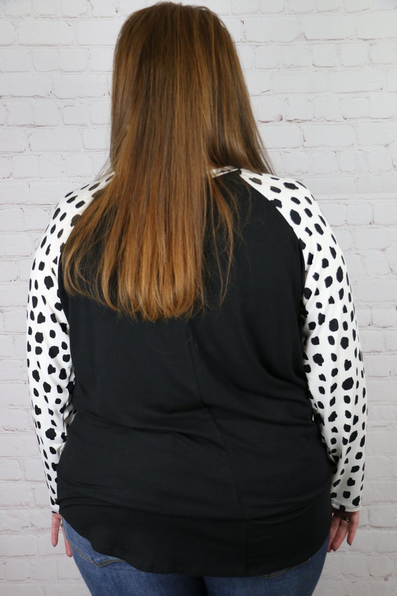 Planned For This Polka Dot Raglan Top - Sizes 12-20