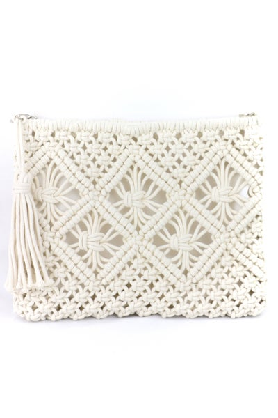 Perfect Every Day White Crochet Clutch with Tasseled Zipper