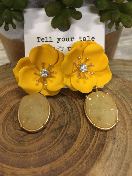Floral Frenzy Earrings With Druzy Stone- Multiple Colors