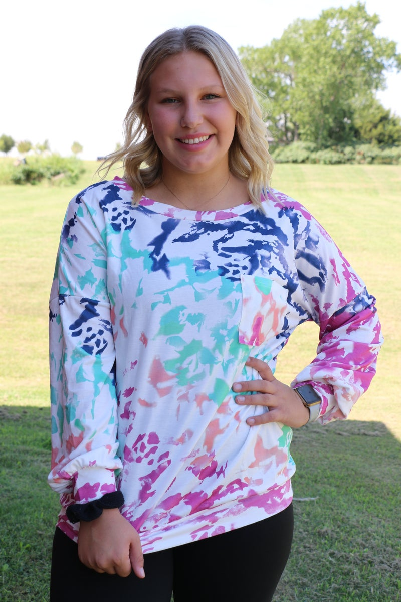 Color Me Happy Tie-Dye Top Pocketed Top in Multiple Colors - Sizes 4-20