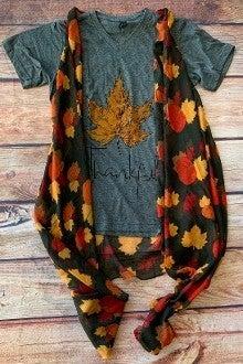 Fall Harvest Pumpkins & Leaves Vest - One Size Fits Most
