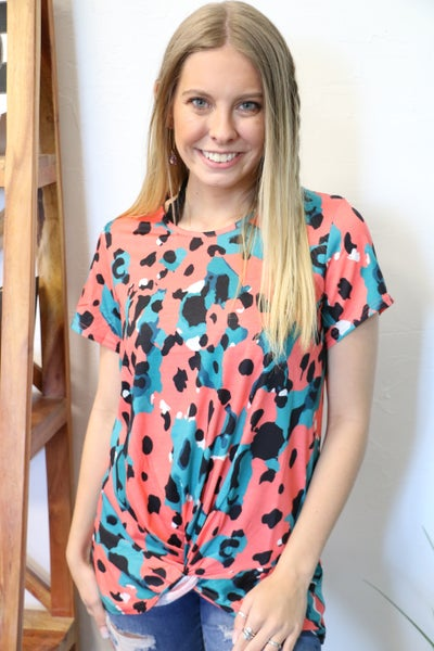 Have Faith Coral and Teal Leopard Short Sleeve Twisted Top - Sizes 4-20