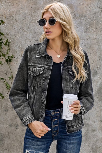 Heart Breaker Black Denim Jacket - Sizes 4-18