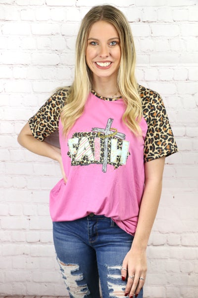 Faith Raglan Top with Leopard Sleeves in Pink - Sizes 4-20