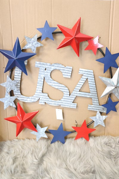 USA Galvanized Tin Wreath With Red Blue And Silver Stars