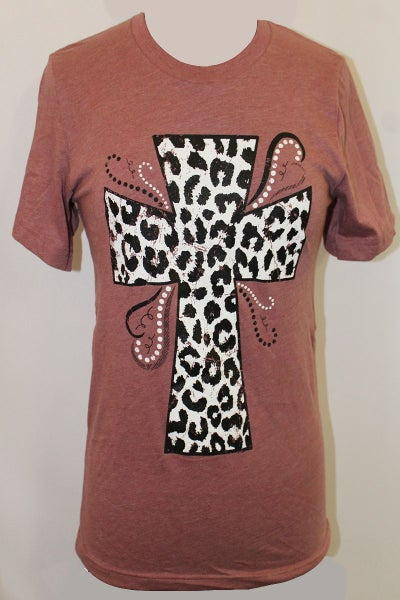 Leopard Cross Graphic Tee in Mauve - Sizes 4-20