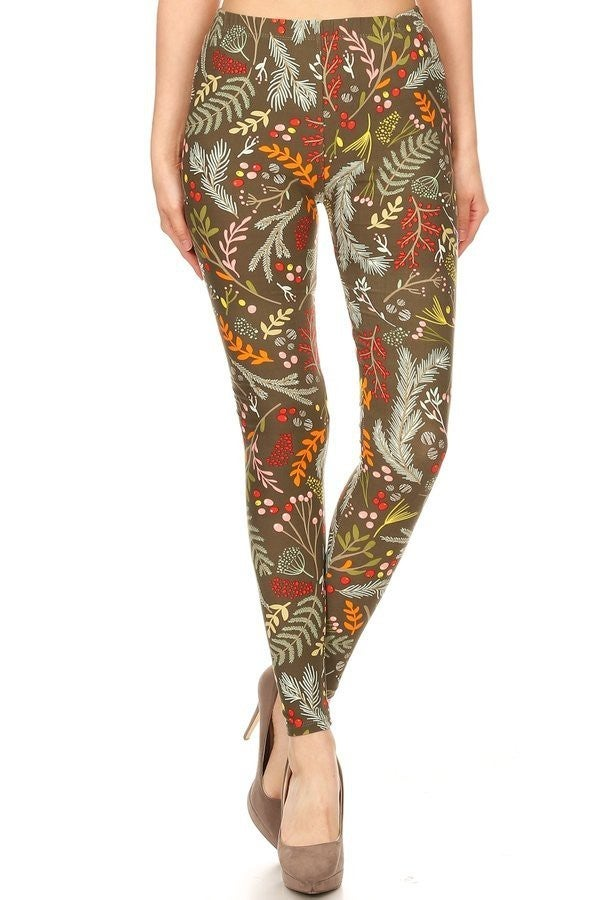 Adorable Fall Foliage Print Leggings in Olive - Sizes 4-20