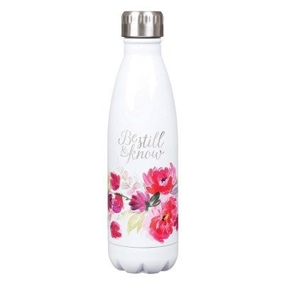 Be Still & Know White Floral Stainless Steel Water Bottle