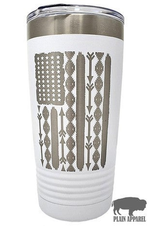 Land of the Free Aztec American Flag Stainless Steel Tumbler