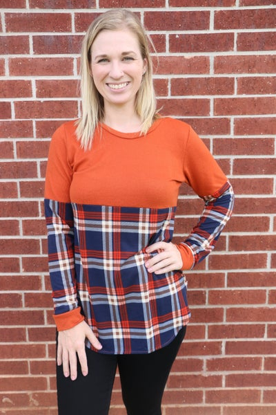 On The Horizon Plaid Colorblock Top in Rust - Sizes 4-20