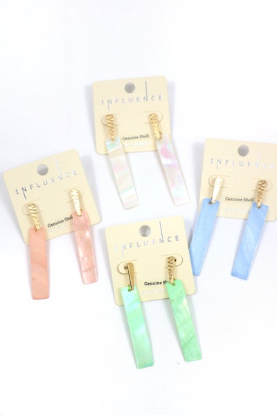 I Believe Rectangle Shell Earrings In Multiple Colors