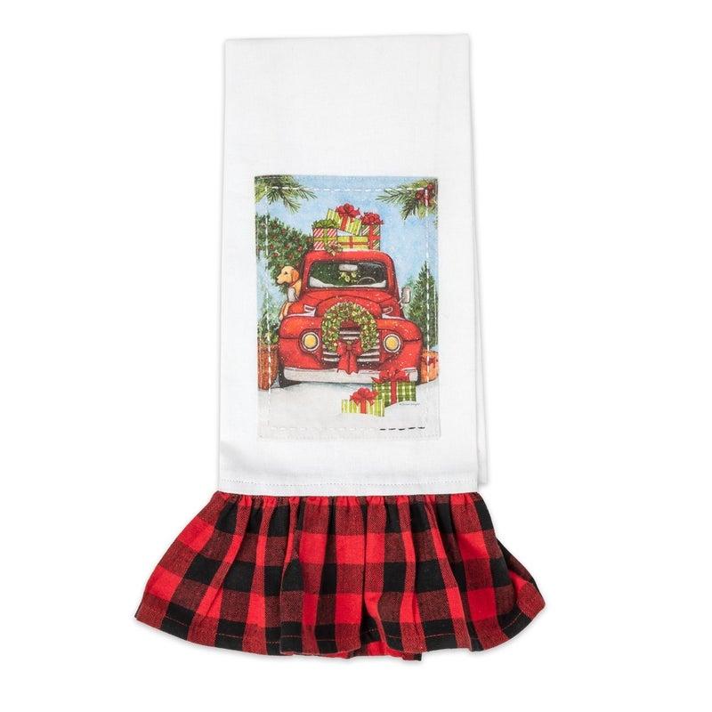 Old Fashioned Christmas Tea Towel with Buffalo Check Ruffled Bottom