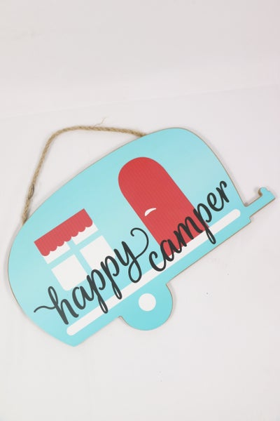 Happy Camper Turquoise Wooden Sign With Rope Hanger