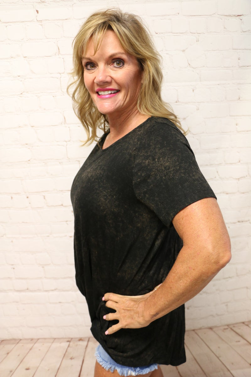 Another One Bites the Dust Mineralwash Short Sleeve Top with Criss Cross Back  in Multiple Colors - Sizes 4-10