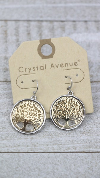 Tree Of Life Round Tree Earring In Silver And Gold