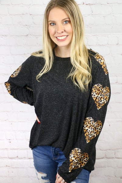 Feeling Your Love Long Sleeve Top with Leopard Hearts on Sleeves - Sizes 4-20