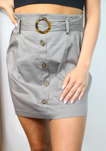 Decide Your Future Grey Belted Button Down Skirt - Sizes 4-10
