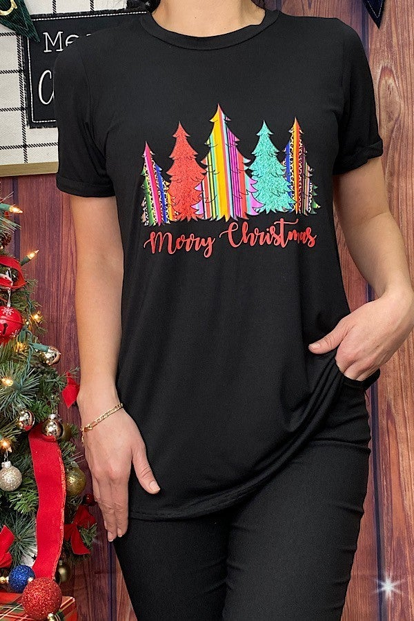 Merry Christmas Tee with Serape Trees - Sizes 4-20