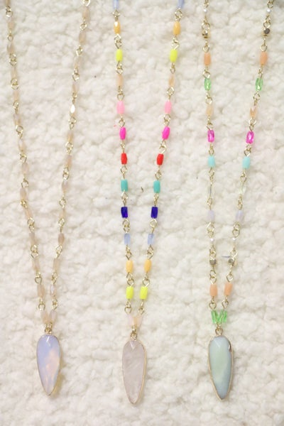 Let's Dance Semi-Precious Stone Pendant Beaded Necklace In Multiple Colors