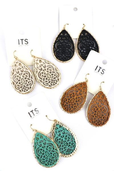 Elegance Teardrop Filigree Earring In Multiple Colors
