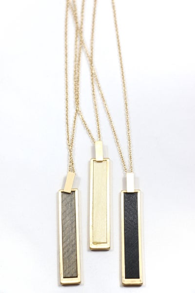 Save The World Long Gold Necklace With Gold And Leather Rectangle Pendant In Multiple Colors