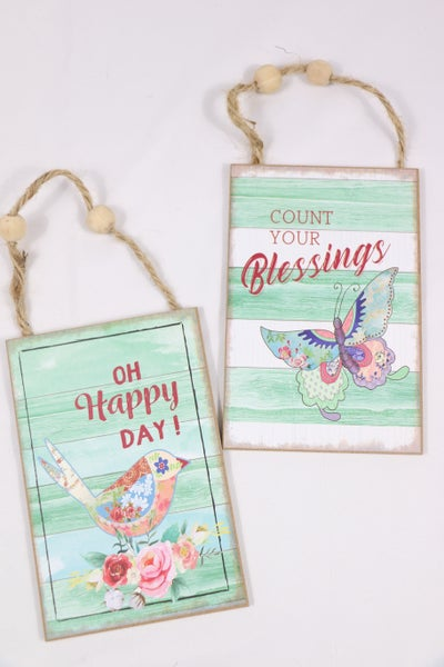 Lovely Day Green Wood Inspirational Sign With Beaded Jute Hanger In Multiple Sayings
