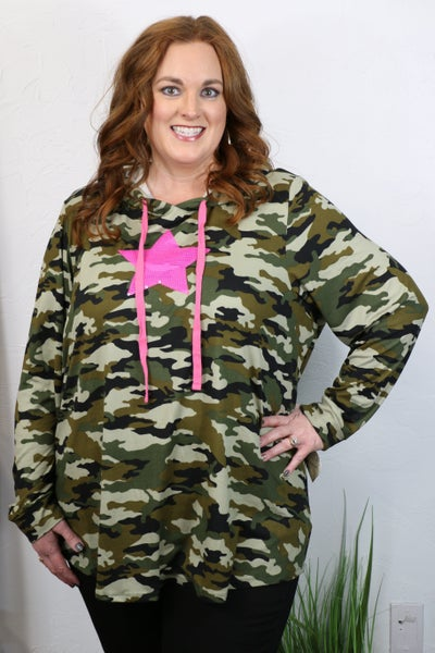 Start at the Top Camo Hoodie with Neon Pink Sequined Star - Sizes 12-20