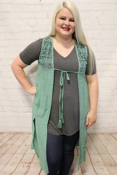 Fresh Start Grass Green Lace Contrast Vest with Front Tie - Sizes 4-10