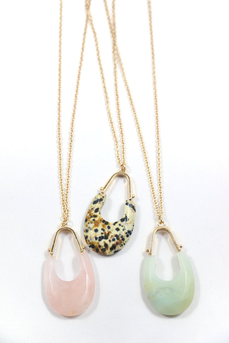 Any Time Long Gold Necklace With Gold And Stone Oblong Pendant In Multiple Colors