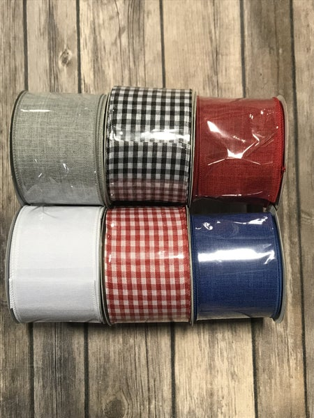 Traditonal Summer Buffalo Check Ribbon with Two Accent Solids