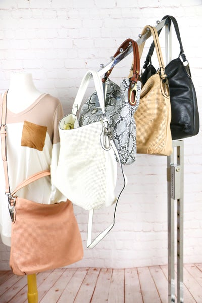She's The Best Hobo Handbag With Perforated Fabric On Front