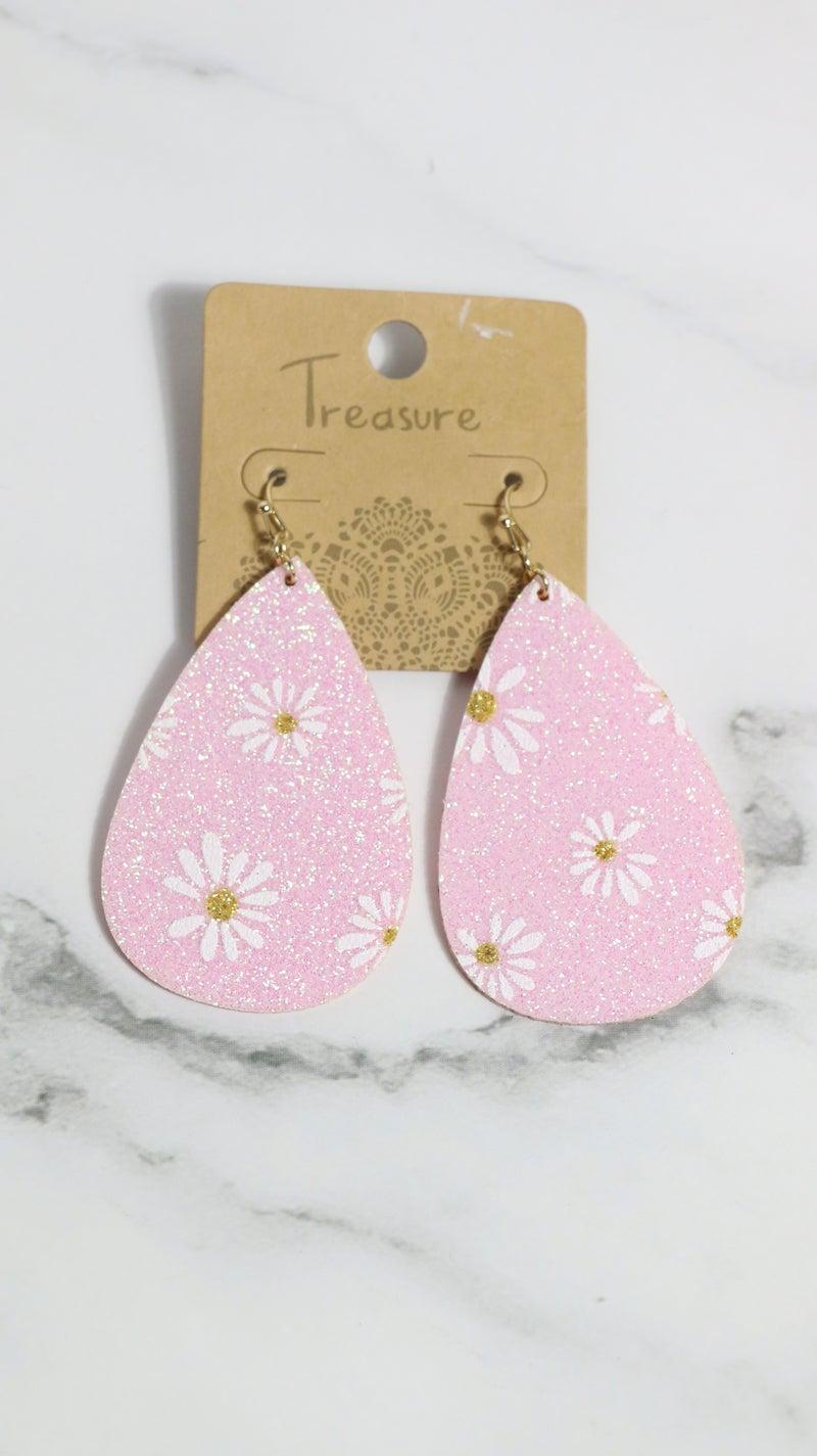 Nowhere Else Glitter Daisy Leather Teardrop Earring In Multiple Colors