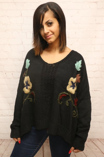 Falling for Florals Oversized Black Sweater with Floral Embroidery - Sizes 2-10