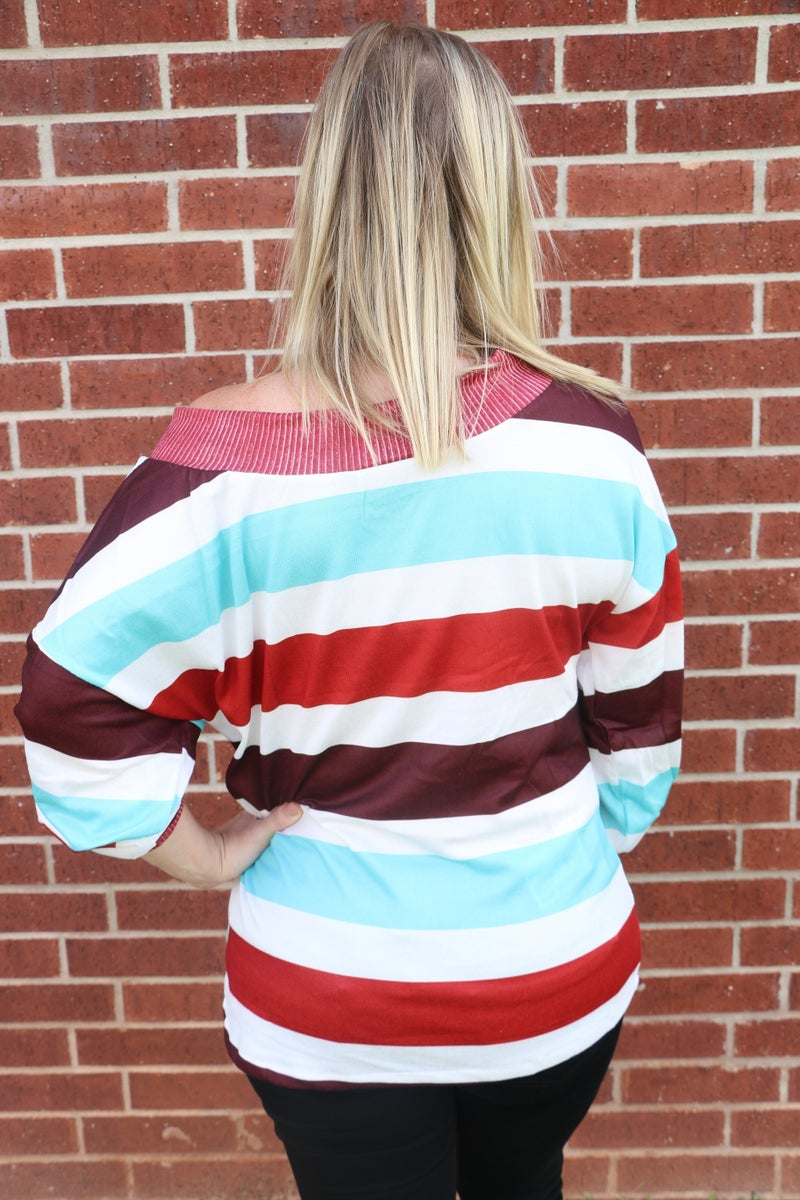 Big Moves Striped Oversized Top - Sizes 4-20