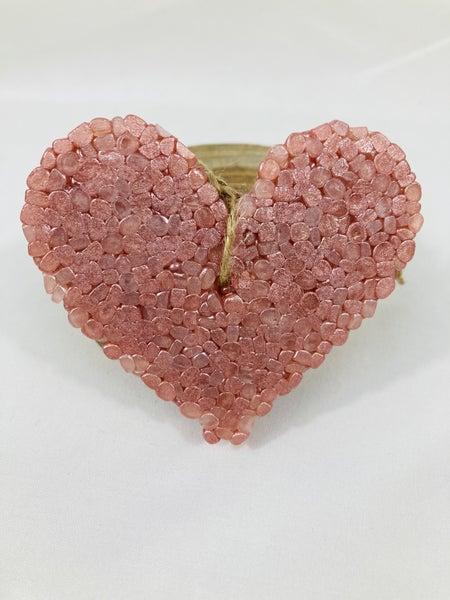 Pink Sugar Heart Car Freshie with Jute