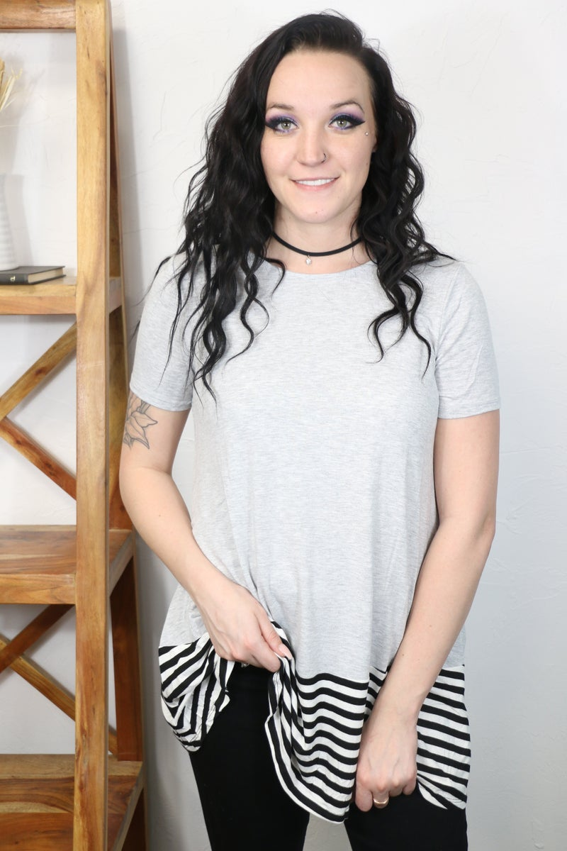 Make You Smile Solid Short Sleeve Top with Black & White Accent Hem in Multiple Colors - Sizes 4-12