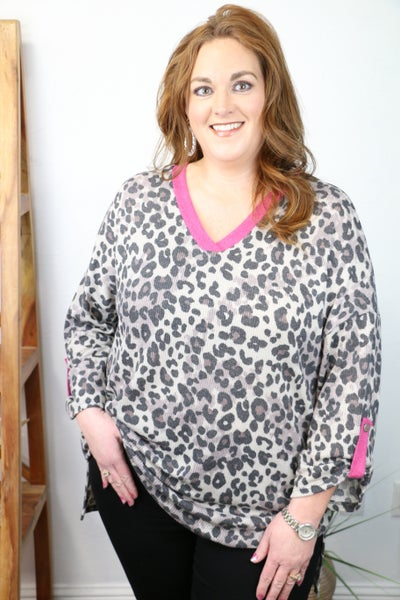 Queen of the Jungle Gray Leopard High Low Waffle Knit Top with Pink Accents - Sizes 4-20