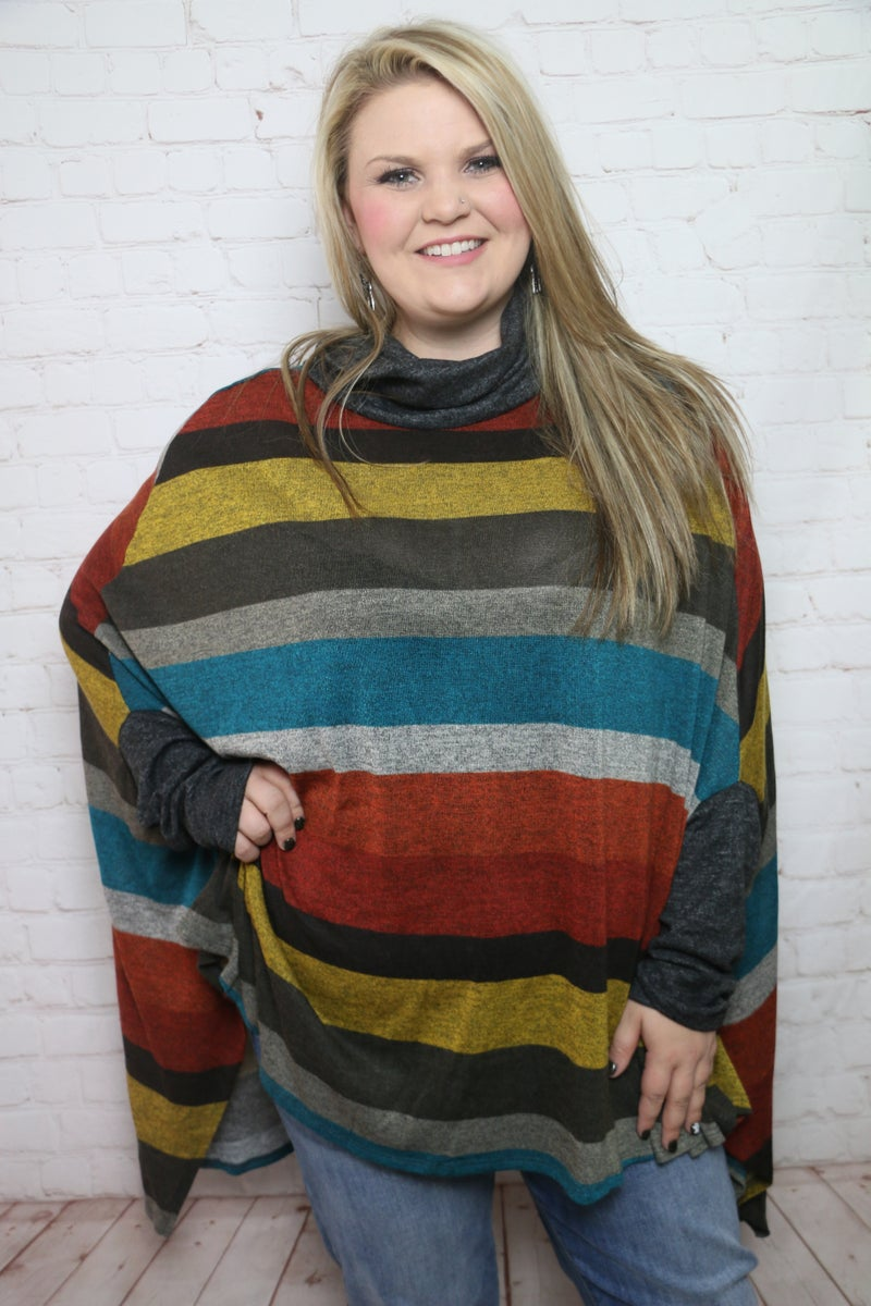 Just a Girl Multicolored Oversized Poncho Top - Sizes 4-20