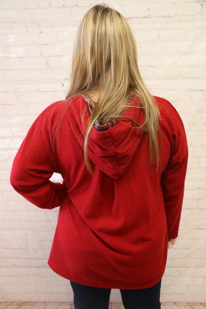 Always Around Red Kangaroo Hoodie with Plaid Accent - Sizes 12-20