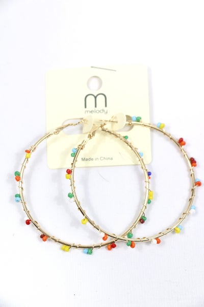 Party Time Multicolor Bead Wrapped Gold Hoop Earring