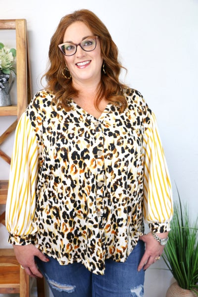 It's Your Moment Bubble Sleeve Faux Button Down Top with Knotted Front in Multiple Prints - Sizes 12-20