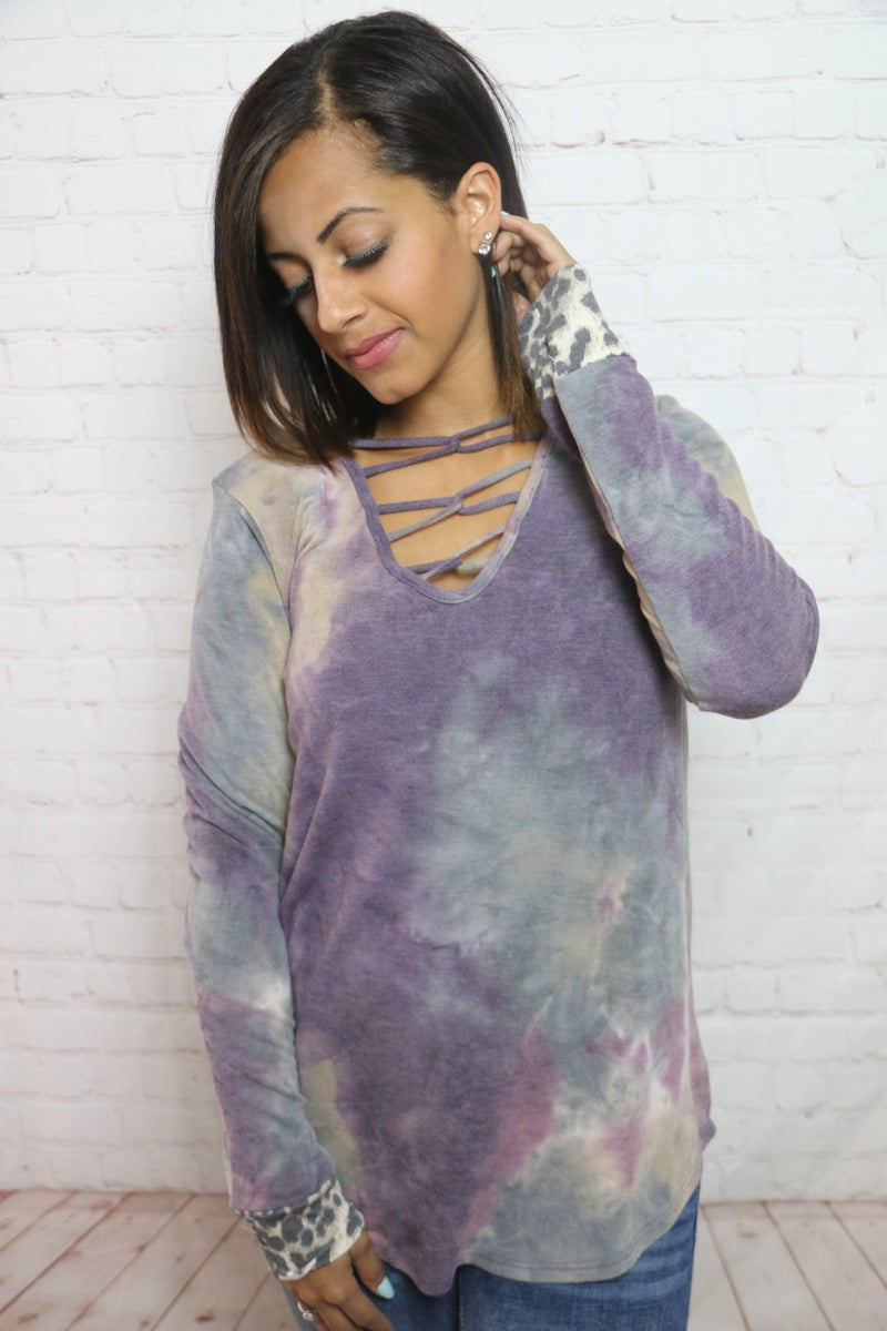 On to the Next Tie Dye Criss Cross Neck Line with Leopard Accent - Sizes 4-12