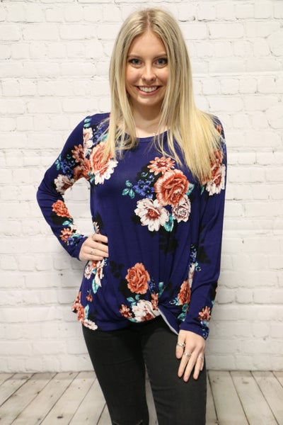 Crazy About You Floral Long Sleeve Top In Multiple Colors