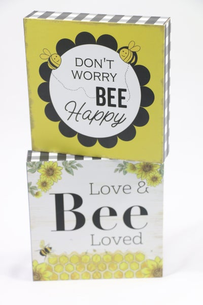 Bee Mine Yellow And Black Bee Block Signs With Multiple Sayings