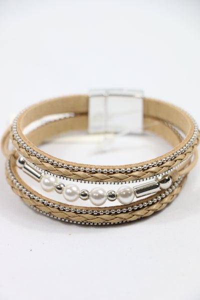 Anytime White Pearl Bead Braided Multi-Strand Magnetic Bracelet