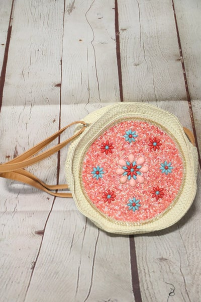 Woven Circular Crossbody with Seed Beads